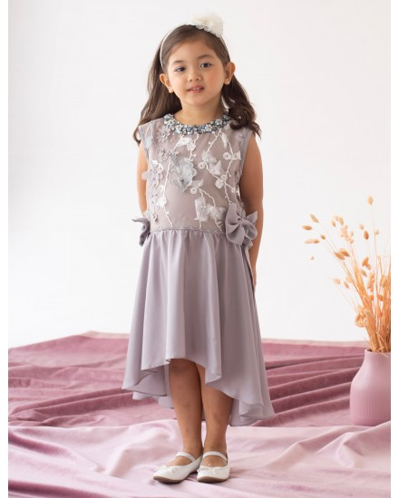 Alesha Gray Bow Dress
