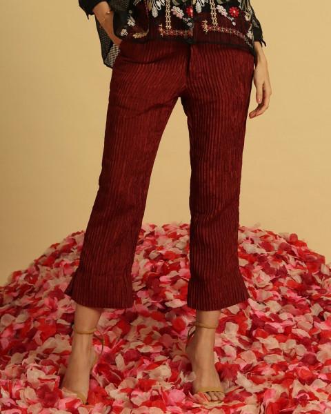 Maroon Pleats Pants